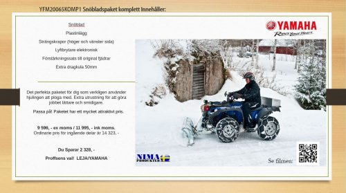 YFM20065KOMP1 Komplett snöbladspaket