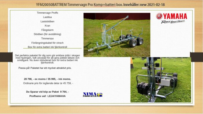 YFM20050BATTREM Timmervagn Pro komp+batteribox