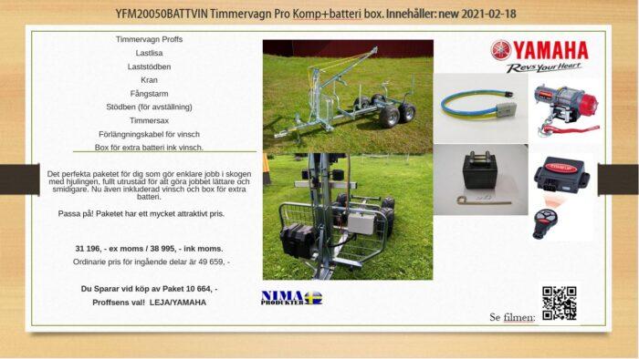 YFM20050BATTVIN Timmervagn Pro komp+batteribox