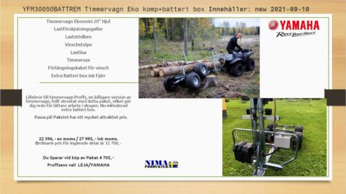 YFM30050BATTREM Timmervagn Eko komp+batteribox