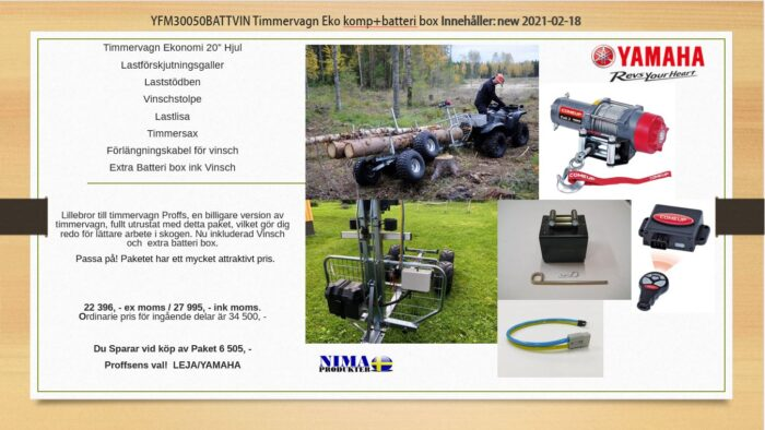 YFM30050BATTVIN Timmervagn Eko komp+batteribox