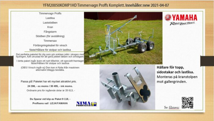 YFM20050KOMP1HD Timmervagn Proffs komplett